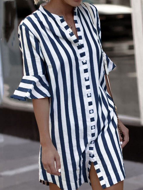 62d7525f8c2f JustFashionNow Plus Size Crew Neck Women Summer Dress Dress Bell Sleeve Casual  Cotton Striped Dress