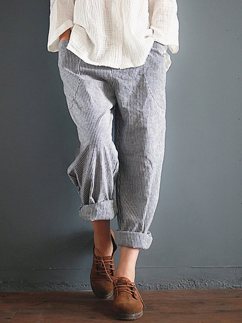 Gray Linen Casual Pockets Striped Cotton Pants
