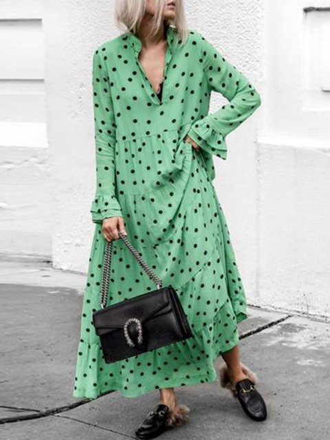 Green Women Daily Long Sleeve Holiday Printed Spring Dress