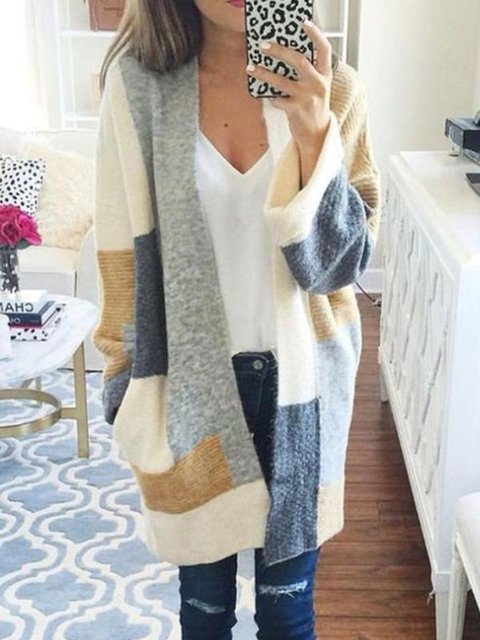 Casual Neck Cardigan White V Cotton Knitted W0nEtH