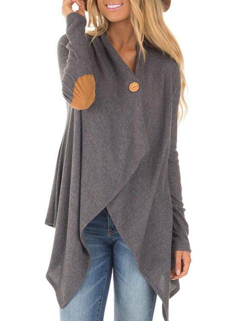 Gray Cotton V-Neck Casual Plus Size Asymmetric Blouse