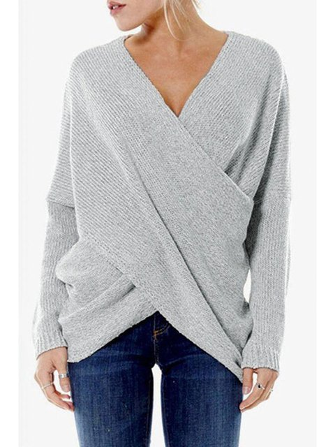 Plus Size V Neck Solid Casual Sweater