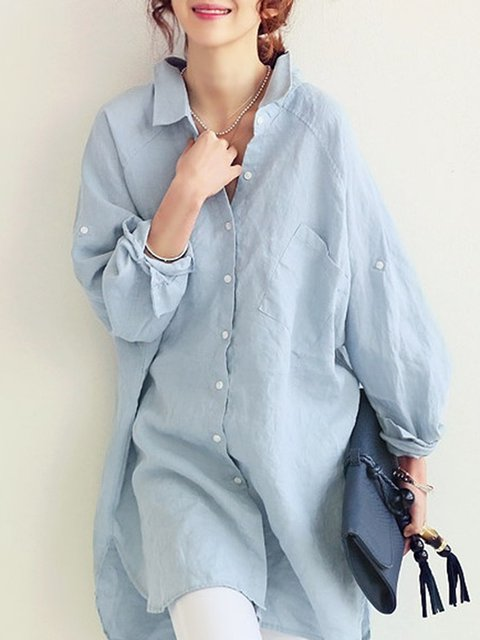 Shirt Collar Solid Long Sleeve Buttoned Shirts