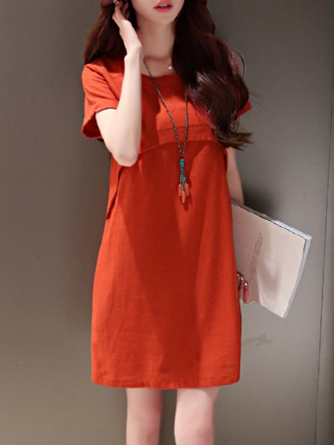 Women Daily Short Sleeve Cotton Basic Solid Casual Dress
