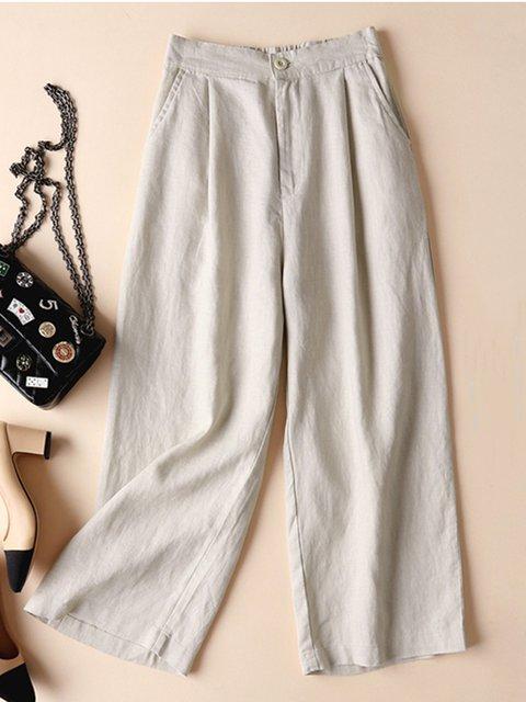 Linen Pockets Cotton Buttoned Folds All Season Plus Size Pants