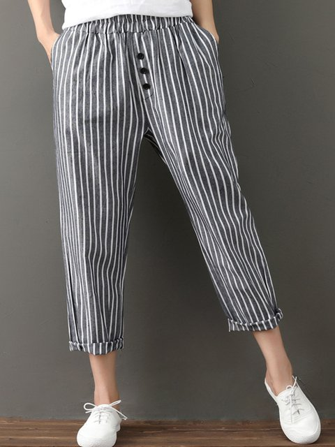 Striped Printed Linen Pockets Buttoned Gathered Plus Size Pants