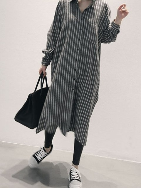 371bd4ebee2 JustFashionNow Shirt Collar As Picture Women Casual Dress Shift Daily Dress  Long Sleeve Casual Linen Slit Striped Dress