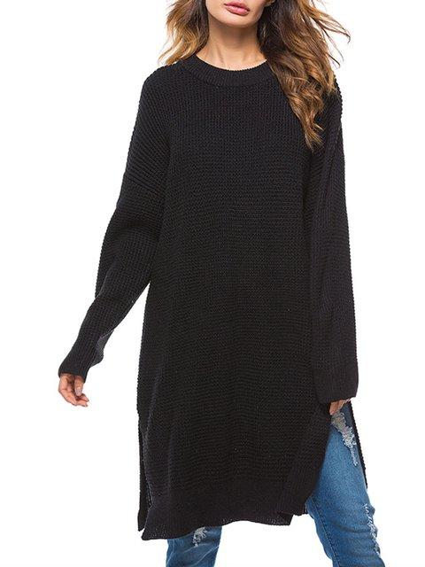 Casual Fall Women Dress Daily Sleeve Shift Knitted Long z8THIxq