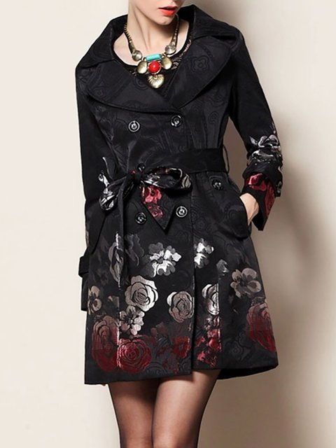 Black Shawl Sleeve Coat Collar Long Casual 7w4q67