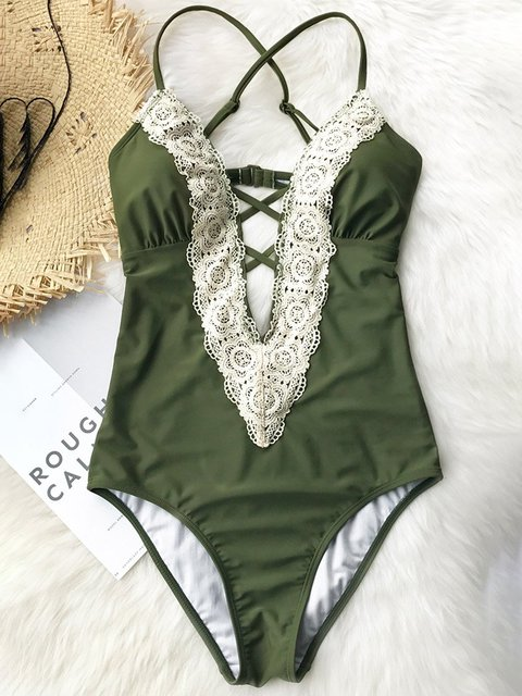 Lace Trimmed Plunge Neck One-piece