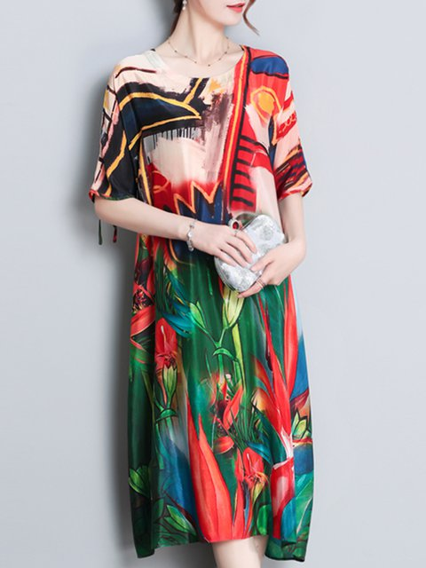 4af9b2960e8 JustFashionNow Plus Size Crew Neck Multicolor Women Elegant Dress A-line  Daily Dress Short Sleeve Casual Chiffon Bow Floral Dress
