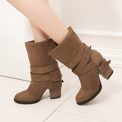 Buckle Shearling Chunky Heel Round Toe Boots