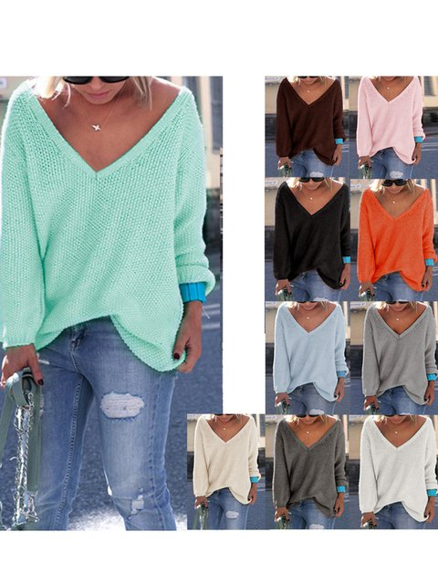Solid Deep V-Neck Long Sleeve Cotton Chic Winter Sweater