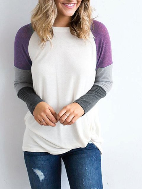 Long Sleeve Casual block Basic T Color Neck Crew Shirt 1nqwgxAUHf