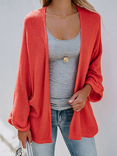 Solid Batwing Sleeves Sweater Cardigans
