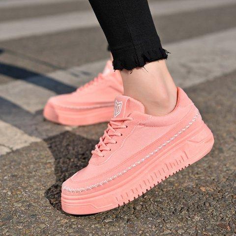 Pink Heel All Season Casual Women Round Toe Sneakers