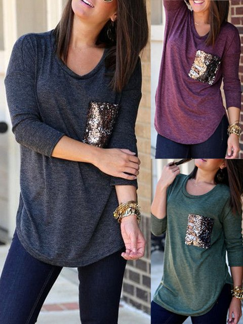 Curved Hem Sequin Pockets Fall T Shirt