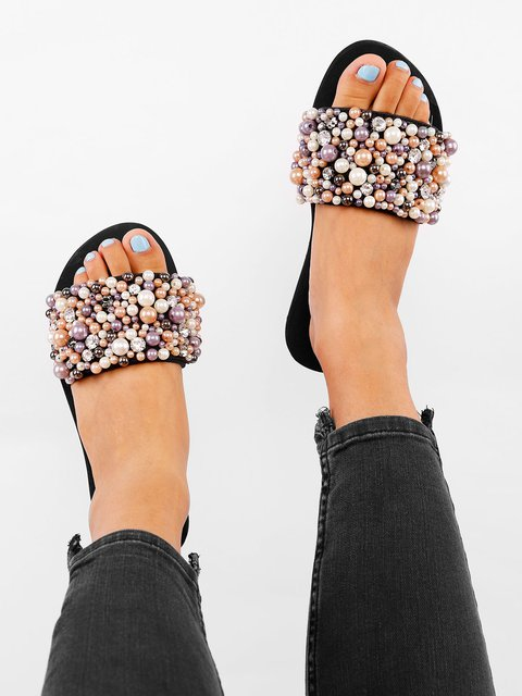 Pearls Embellished Single Strap Flat Sandals