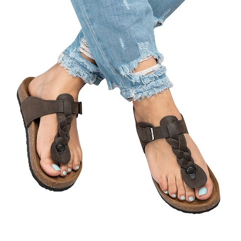 c906fe4b0eb Large Size Casual Buckle Strap Thong Sandals - JustFashionNow.com