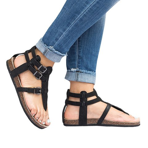 a8e474918d3c Ankle Strap Buckle Flip Flop Gladiator Thong Flat Sandals ...