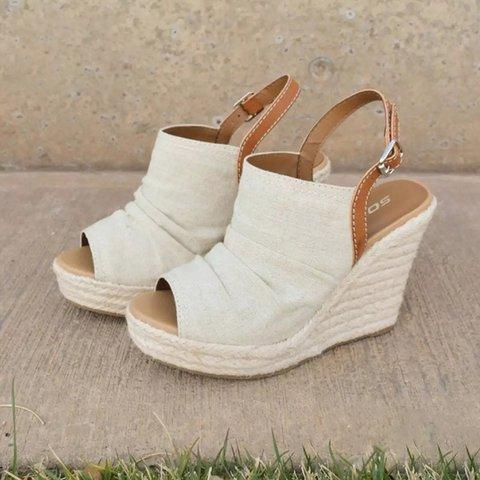 b5c236391e19 Large Size Espadrille Wedge Peep Toe Ankle Strap Sandals ...