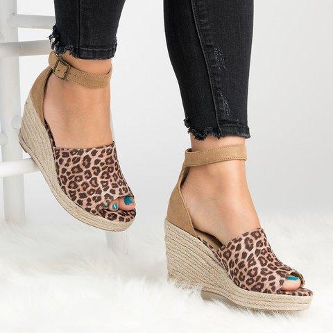 Plus Size Espadrille Wedge Peep Toe Ankle Strap Sandals ...
