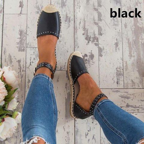 Women Summer Style Sandals PU Flat Espadrilles Buckle Sandals