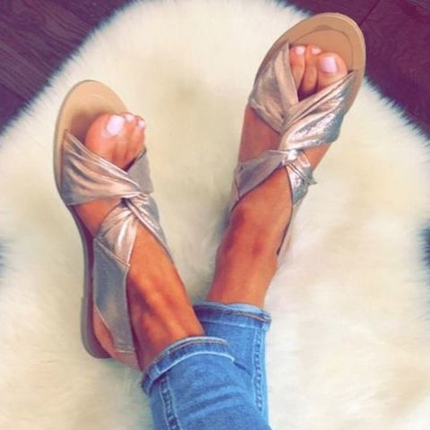 ee03ce977be0 Women Summer Beach Shoes Strap Peep Toe Flat Plus Size Sandals ...