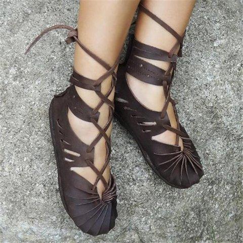 Women's Casual Lace-up Sandals Plus Size Celtic shoes
