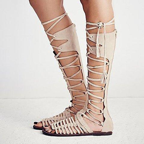 Apricot Lace-up  Sandals Plus Size PU Flat Heel Sandals