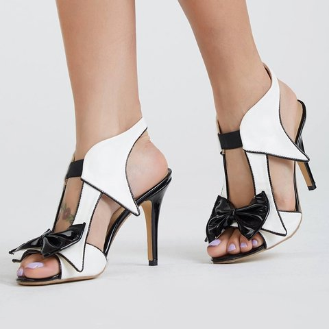 Plus Size White Stiletto Heel Sandals Bowknot PU Slip On Pumps
