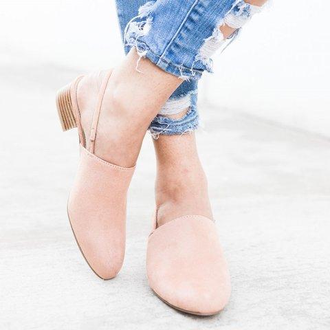 Blush Slingback Mule Sandals Closed Toe Low-heel Slip-On Sandals