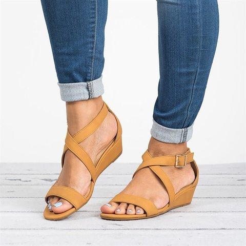 Low Heel Wedges Sandals Faux Suede Adjustable Buckle Sandals
