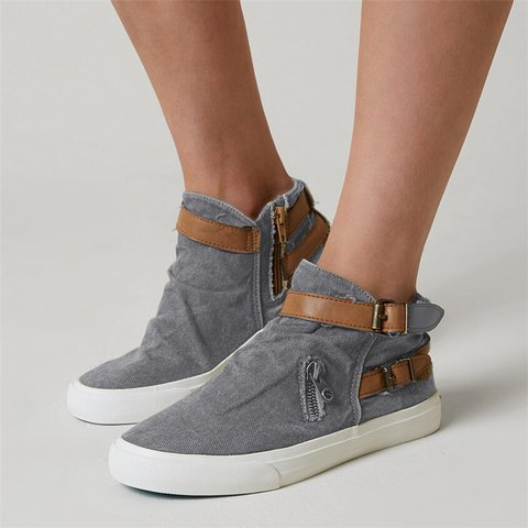 plus size canvas ankle boots flat heel buckle booties with