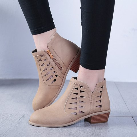 Hollow-out Daily Zipper Booties PU Low Heel Ankle Boots