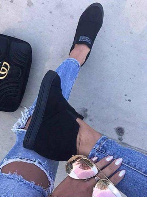 eed58dc4eea2 Fashion Letter Slip On Wedge Sneakers Faux Suede Wedge Heel Casual Sneakers