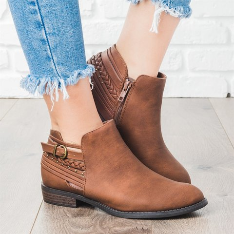 Boho PU Braided Strap Low Heel Booties Adjustable Buckle Daily Ankle Boots
