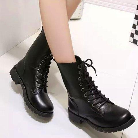 Plus Size Black Women Martin Lace Up Booties Classic Shoes