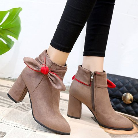 Women Flocking Chunky Heel Booties Casual Comfort Zipper Shoes