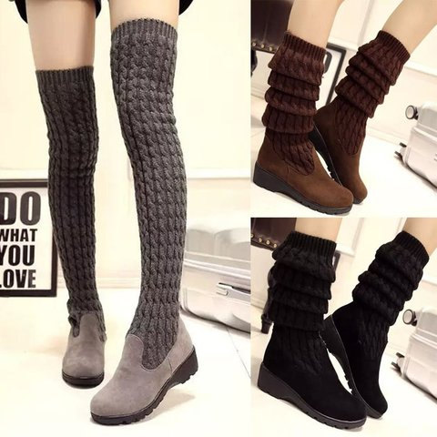 Women Knee Knitted Booties Casual Comfort Warm Shoes
