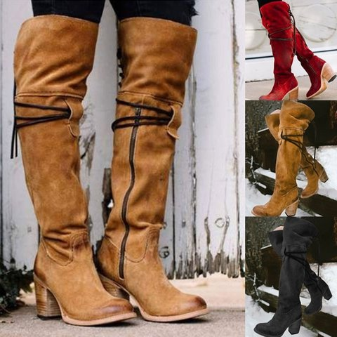 7f9917ff842 Vintage Knee High Lace Up Zipper Boots Plus Size Warm Snow Boots ...
