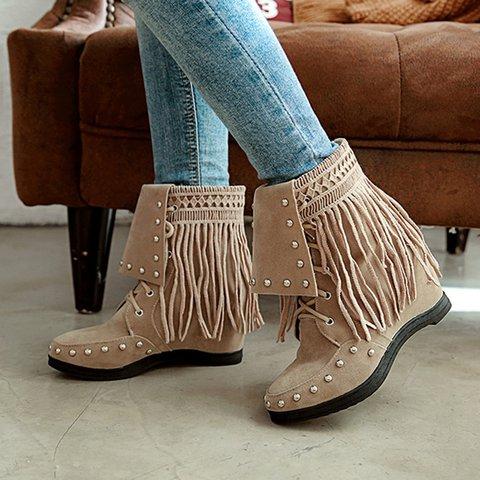 Women Vintage Tassel Booties Casual Plus Size Slip On Shoes