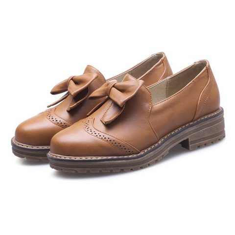 Women Plus Size Bowknot Slip On Loafers Casual Shoes