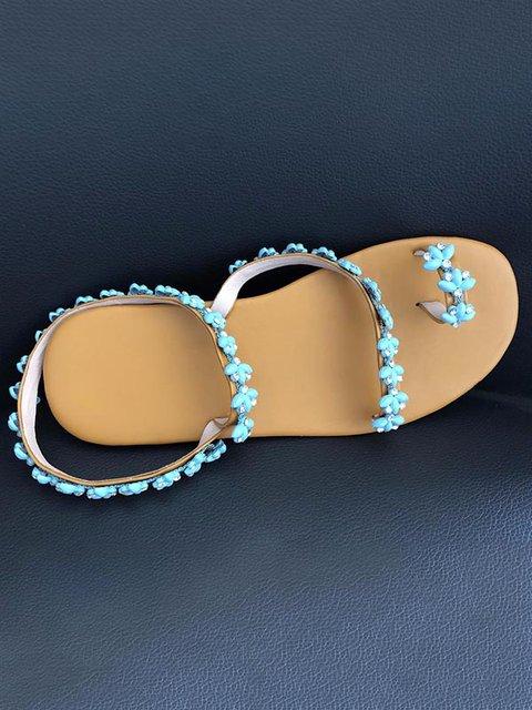 Summer Handmade Cute Beach Flat Sandals Pu Rhinestone Slip