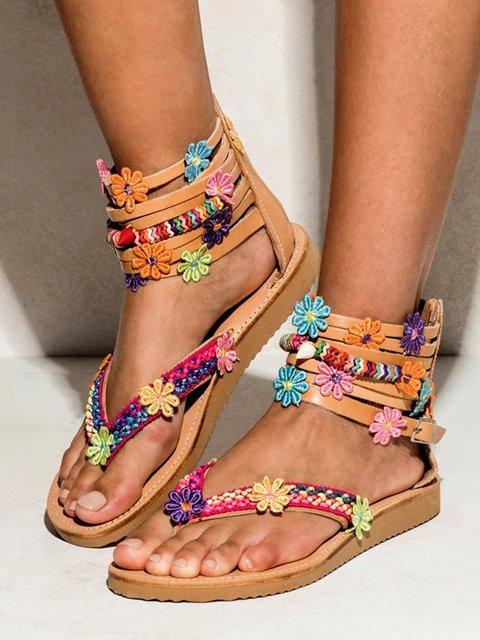 50e336a336ebd Bohemian Chic Flat Sandals Zipper Bottomed Flowers Sweet Handmade Sandals  in Brown