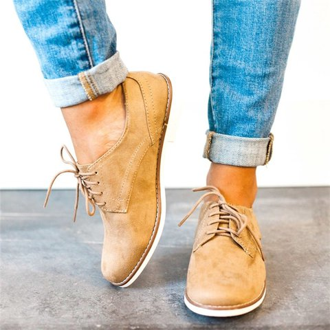 16e3ef5590 Comfort Low Heel Oxford Shoes Lace-up Daily Loafers - JustFashionNow.com