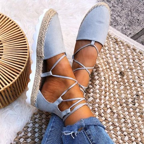 Women Fashion Ankle Strap Flats Sandals Plus Size Lace-up Shoes