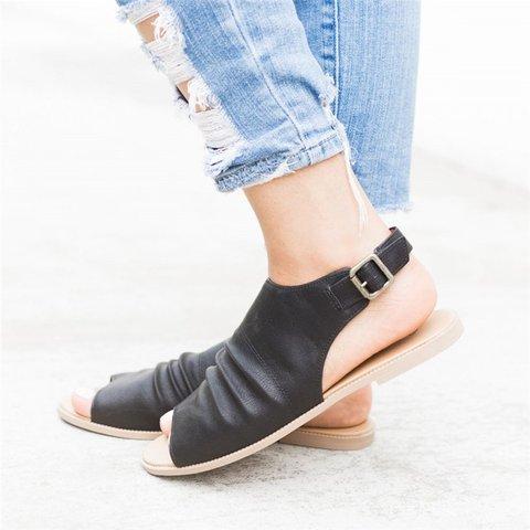 Women PU Sandals Peep Toe Style Plus Size