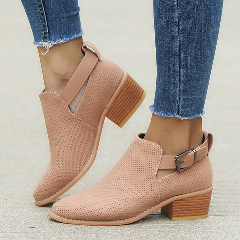 Women Buckle Low Heel Boots Pinhole Outdoor Riding Ankle Booties