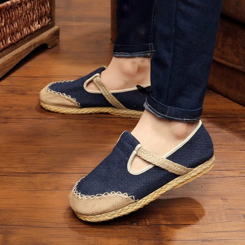 Canvas Hollow-out Slip-On Flats  Loafers